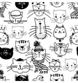 Hand drawn funny cats pattern vector image