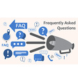 Speaker with a lot of questions exclamation marks vector image