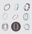 Original letters O set isolated on light gray vector image
