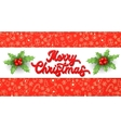 Xmas 3d lettering and holly on red background vector image