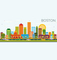 boston skyline with color buildings and blue sky vector image