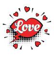 Love text heart lips comic word vector image