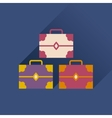 Flat icon with long shadow three chests vector image