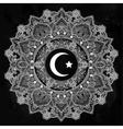 Islamic crescent moon in ornate background vector image
