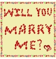 Proposal to marry of rose petals on a yellow vector image