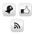 Social media buttons set - like it bird rss vector image
