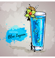 Hand drawn cocktail blue lagoon vector image