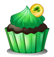 A chocolate cupcake with a coin at the top vector image
