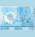 mechanical engineering drawings on a blue vector image