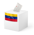 Ballot box with voting paper Venezuela vector image