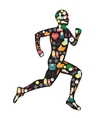 Running man silhouette filled with sport icons on vector image