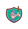 Baseball Player Batting Crest Cartoon vector image