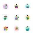 Businessman icons set pop-art style vector image