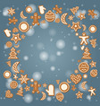 christmas holiday card with ginger cookies vector image