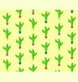 cute cartoon seamless cactus pattern vector image