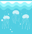 jellyfish swimming in blue sea water background vector image