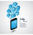 Ringing phone with bubbles of coffee vector image