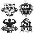 set of bodybuilding emblems vector image