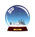 snow globe city brazil in snow globe winter vector image