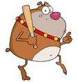 Brown Bulldog Tip Toeing With Baseball Bat vector image