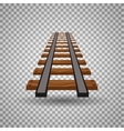 Railway tracks or rail road line on transparent vector image