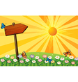 A sunset with a wooden signboard in the garden vector image
