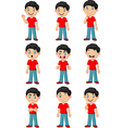 Little boy in various expression isolated vector image
