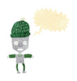 cartoon robot wearing hat with speech bubble vector image