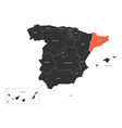 catalonia region in a map of spain vector image