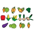 Flat icons of fresh vegetables vector image
