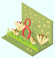 Isometric card with the number eight flowers vector image