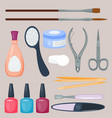 manicure foot and hand care fingers instruments vector image