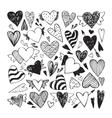 Doodle hearts set vector image