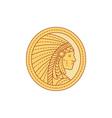 Native American Indian Chief Warrior Mono Line vector image vector image