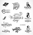 womens day typographical design elements vector image