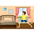 A man exercising in his room vector image