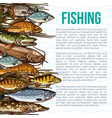 poster for fishing or sea fish product vector image vector image