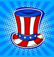 hat in coloring of american flag pop art vector image