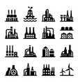 industrial building factory icon set vector image