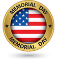 Memorial day gold label with USA flag vector image