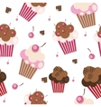 Seamless Pattern with Cute Cupcakes vector image vector image