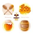 Bee honey icon set with cartoon flat icons - vector image