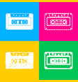 cassette icon audio tape sign four styles of vector image