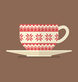 christmas cup with pattern vector image