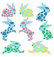 Eight ornamental rabbits vector image