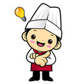 happy chef character is a great idea rushed upon vector image