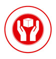 Red cube in the hands emblem icon vector image