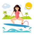 surfing flat style colorful cartoon vector image