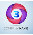 Number three logo symbol in the colorful circle vector image