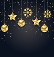 Christmas Dark Background with Golden Balls Stars vector image